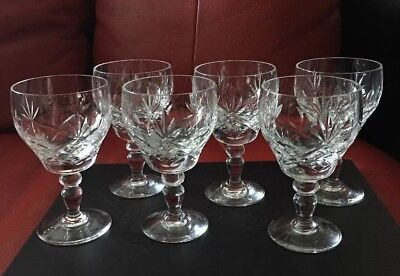 Set Of 6 Royal Brierley Crystal Wine Glasses 12cm Tall