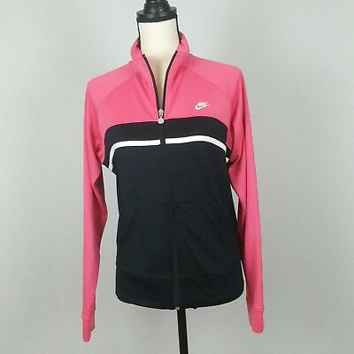 76b6eed1c096 Nike Womens Hot Pink Black Zip Up Track Jacket Warm-Up VTG Size Medium M