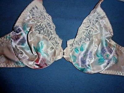 34C VTG Lily of France Satin & Lace Unlined Full Coverage Underwire Bra 3434