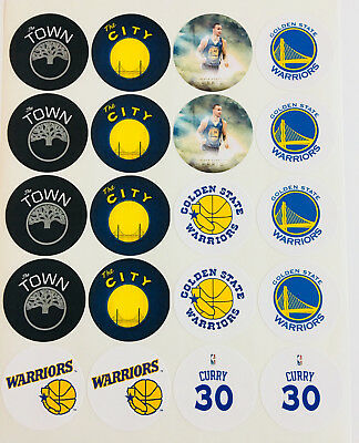 """SET of 20- 2"""" GOLDEN STATE WARRIORS ADHESIVE STICKERS.Make Cupcake Toppers! #2"""