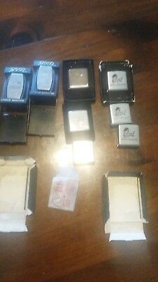 Lot of (6) Vintage ZIPPO  Advertising rules and 2 pocket kinfes / money clip