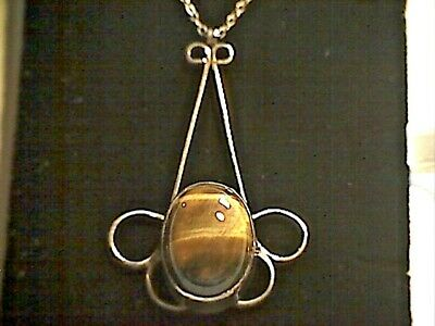 "Vintage Sterling Silver Tigers Eye Pendant and 16"" Trace Chain Necklace."