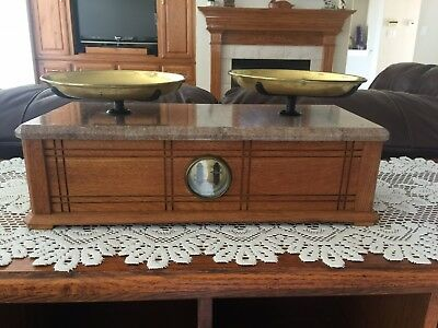 Antique Henry Troemner Balance Scale-Oak-Brass-Marble