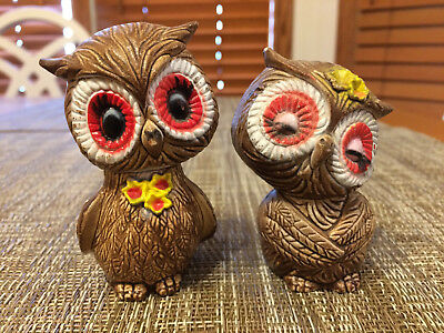 Vintage Made In Japan Owl Salt & Pepper Shakers Boy Courting Girl Hand Painted