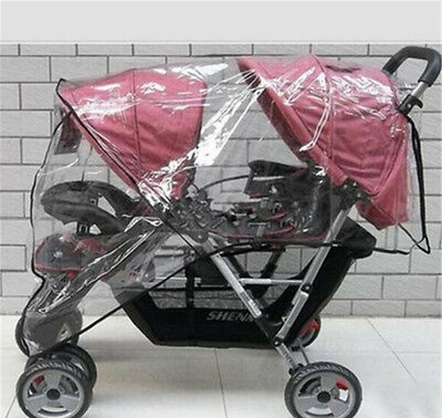 TWIN BABY Stroller Cart Universal Pushchair DOUBLE Rain Cover Dust*Wind Shi Bc