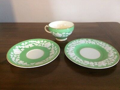 Antique George Jones Rhapsody Crescent Cup And Two Saucers Green
