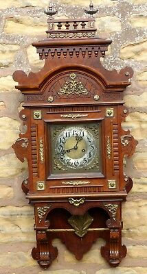 "Rare Large Carved Walnut ""gustav Becker"" Black Forest Wall Clock ""vienna Style"""