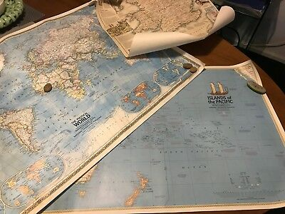 3 X Vintage Large National Geographic World Maps Political Medieval Pacific 1970