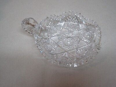Antique American Brilliant Period Cut Glass Small Dish With Handle