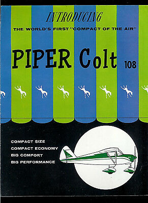 "Early 1960's Piper Colt 108 Airplane ""Compact Of The Air"" Rare Original Brochure"