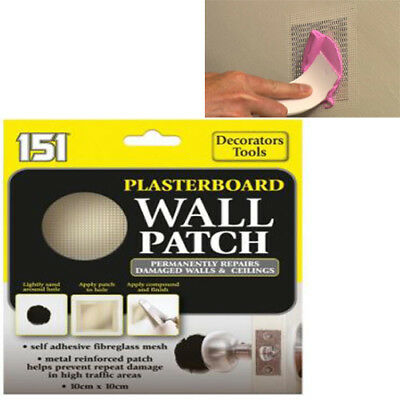 Wall Patch Plasterboard 10cm x 10cm Repairs Holes Damage To Walls & Ceilings New