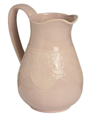 Large Vintage Chic Pretty Peach Ceramic Pitcher Jug Embossed Lace Pattern Design