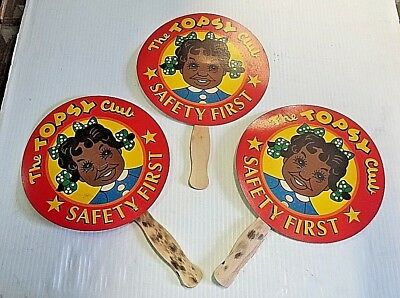 """Lot of 3 """"The Topsy Club"""" Black Americana Ad Hand Fans w/ Wooden Handles"""