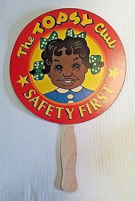 """New """"The Topsy Club"""" Black Americana Ad Hand Fan with Wooden Handle"""