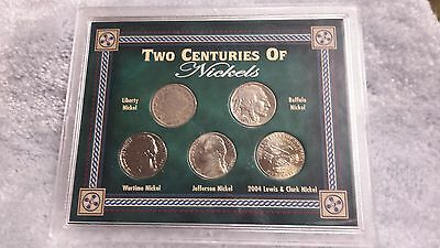 Two Centuries Of Nickels, 5-U.s. Nickels In Presentation Case, Silver War Nickel