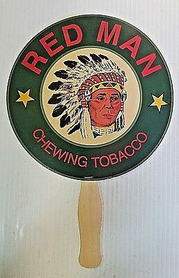 TWO Red Man Chewing Tobacco Indian Chief Paper & Wood Advertising Hand Fan