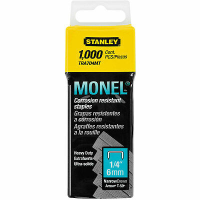 "Stanley Monel Heavy Duty Corrosion Resistant Staples TRA704MT - 1/4"" 1,000-count"