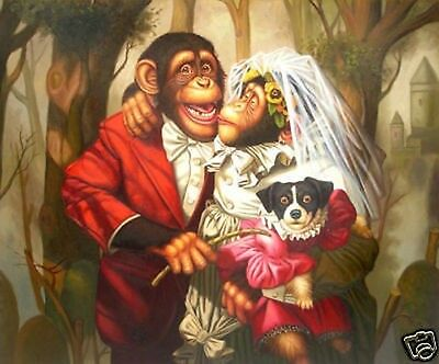 "Art Repro oil painting:""Monkey's wedding at canvas"" 24x36 Inch"