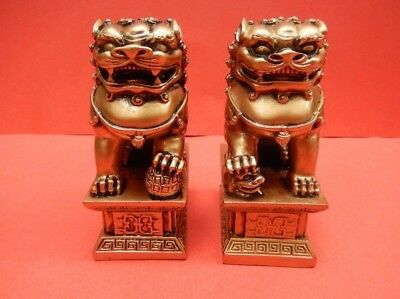 1 Pair Chinese Oriental Feng Shui Fu Foo Dog Home Door Lions Guardians Statue