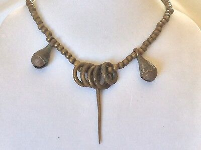 Antique Huge Heavy Handmade African Necklace Brass/Bronze Beads Rings Bells