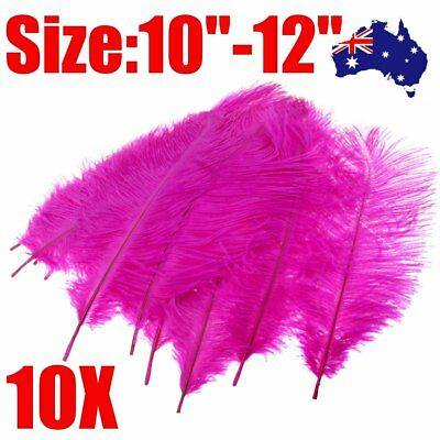 """10 x Arts Crafts Ostrich Feathers Fluffy 10""""-12"""" Long Hot Pink"""