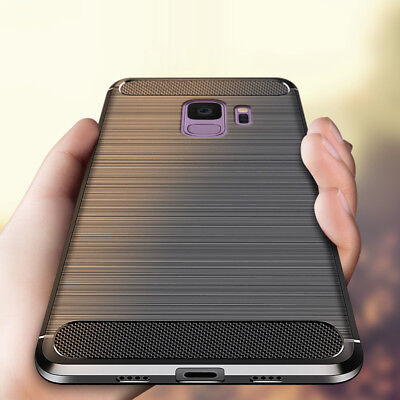 For Samsung Note 9 S9 S8 A6 A8 2018 Slim Fiber Carbon Silicone Rugged Case Cover
