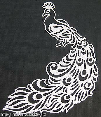 4 x Lacey Peacock, Die Cuts, Embellishments 'WHITE' ..CHOICE OF CARDSTOCK...