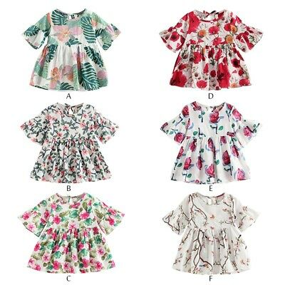 Summer Toddler Baby Girls Floral Dress Princess Party Pageant Tutu Dresses 0-4Y