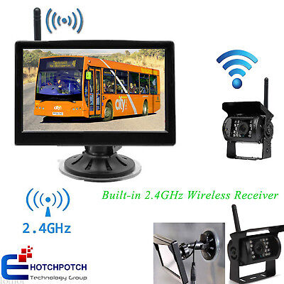 """Wireless IR Rear View Backup Camera Night Vision System+5"""" Monitor for RV Truck"""