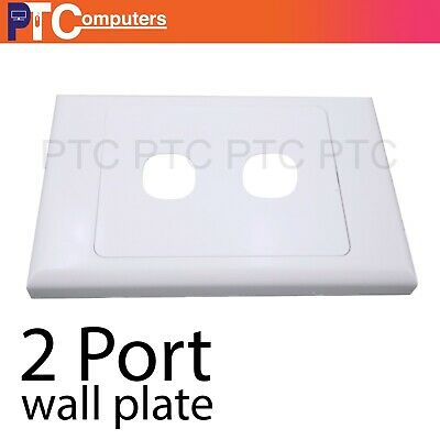 2 Port Wall Plate Wallplate Cover Custom Suit Mech Insert Clipsal Style White AU