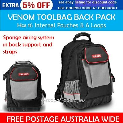Backpack Tool Bag Storage Venom Back Pack Carry Tote Heavy Duty Duffle Pockets