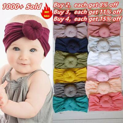 Baby Newborn Elastic Cotton Turban Hairband Headband Stretch Knotted Head Wrap