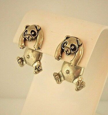 EARlusion 3D Pewter Panda Bear earrings