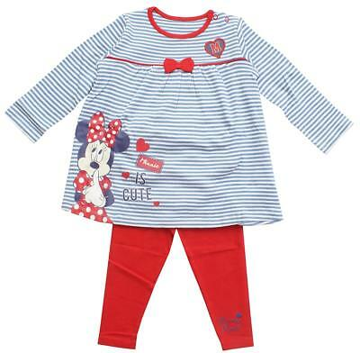 Girls Disney Minnie Mouse Stripe Dress Top & Leggings Set Newborn to 18 Months