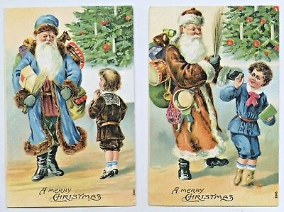 1908 x2 EMBOSSED NPU XMAS POSTCARDS SANTA CLAUS COLOURED ROBES BLUE & BROWN Q21.