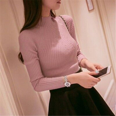 Women Lady Long Sleeve Pullover Jumper Autumn Winter Knitted Warm Sweater Tops