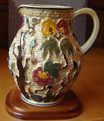 Indian Tree hand painted large Jug by HJ Woods English Pottery vintage 1960's