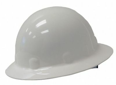 Full Brim Hard Hat, 8 pt. Ratchet Suspension, White, Hat Size: 6-1/2 to 8