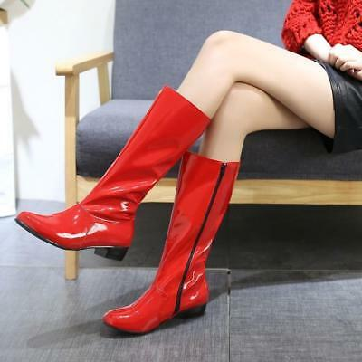 Sexy Womens Patent Leather Pointy Toe Block Heel Zipper High Clubwear Boots Chic