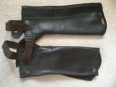 SAXON EQUI LEATHER SHOW GAITERS / HALF CHAPS Brown Child Medium
