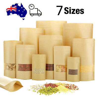 Brown Kraft Paper Bag Zipper Seal Stand Up Food Coffee Packing Pouch with Window