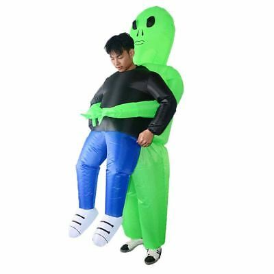 Scary Halloween Green Alien Inflatable Costume Blow Up Adult Suit Party Dress AU