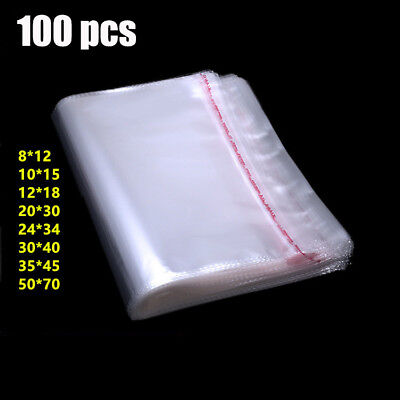 100pcs Resealable Poly Transparent Opp Plastic Bags Self Stick Adhesive Seal AU