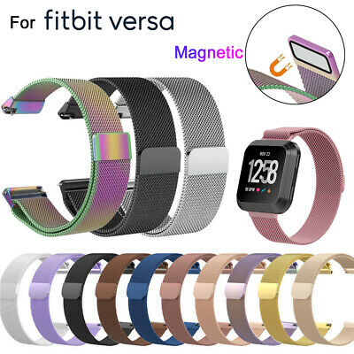Replacement Stainless Steel Magnetic Milanese Band Wristband For Fitbit Versa -