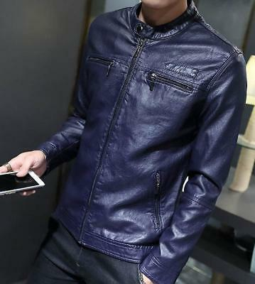 hot sale Mens Stand Collar Zipper Slim Casual Motorcycle PU Leather Coat Jacket