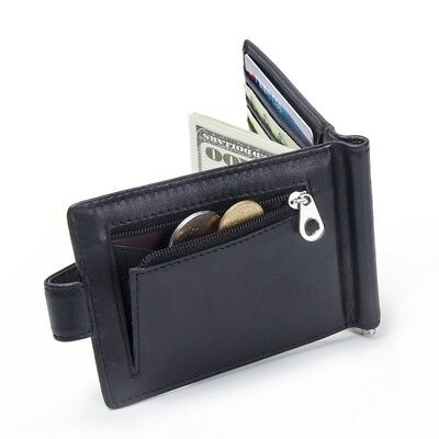 Genuine Leather Money Clip Men's Wallet Hasp Mini Purse Credit Card Coin Holder