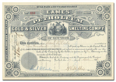 Eames Petroleum Gold & Silver Smelting Company Stock Certificate (1880)