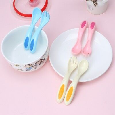 2Pcs Safe Plastic Baby Spoon Fork Set Learning Tableware Children Flatware