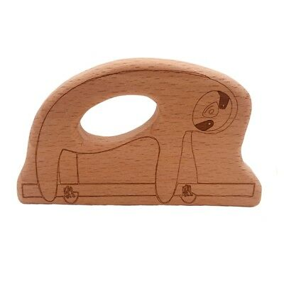 Baby Beech Wooden Sloth Teether DIY Crafts Pendant Chewable Pacifier Chain Toys