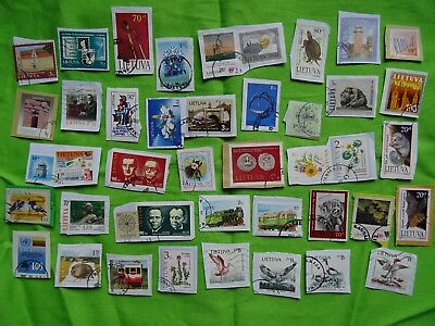stamps of Lithuania / Lituania Lituanie Litauen - used stamps on paper KILOWARE